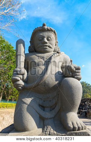 Guardian Of Candi Sewu Buddhist Complex In Java, Indonesia