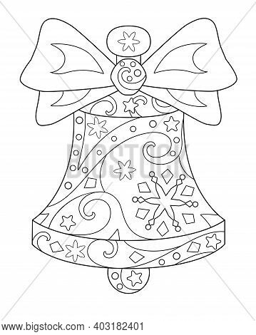 Bell With Bow, Antistress - Vector Linear Illustration For Coloring. Christmas Or New Year Element O