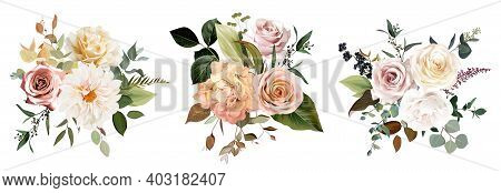 Rust Orange And Blush Pink Antique Rose, Beige And Pale Flowers, Creamy Dahlia, Peony, Ranunculus, L