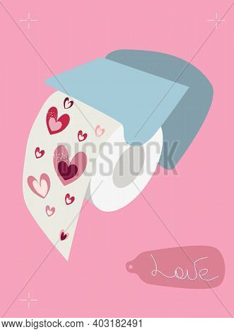 Love Toilet Paper In Holder. Lavatory Hygienic Goods With Pink Hearts Print. Funny Gift For Home. Va