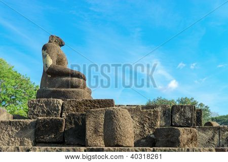 Buddha Statue Without Head, Candi Sewu Complex In Java, Indonesia
