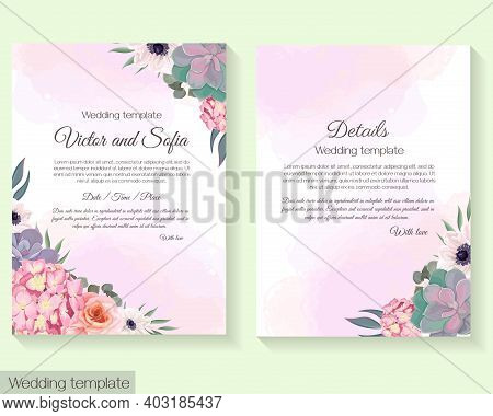 Floral Wedding Template. Succulents, Pink Roses, Hydrangea, Anemones, Eucalyptus, Green Plants And L