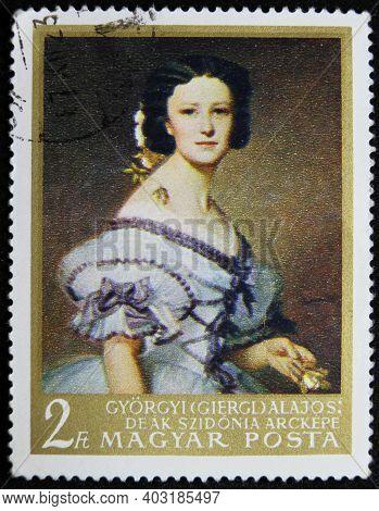 Istanbul, Turkey - December 26, 2020: Hungarian Stamp Shows Portrait Of Szidonia Deak, 1861, By Alaj