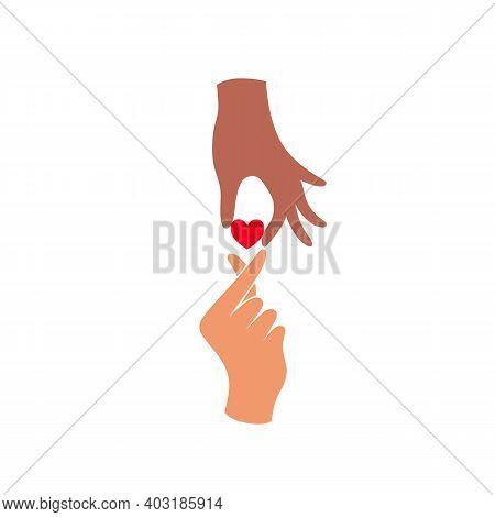 Heart Holding By Diverse Hands. Vector Illustration Concept Of Tolerance. Black Lives Matter Hand Dr