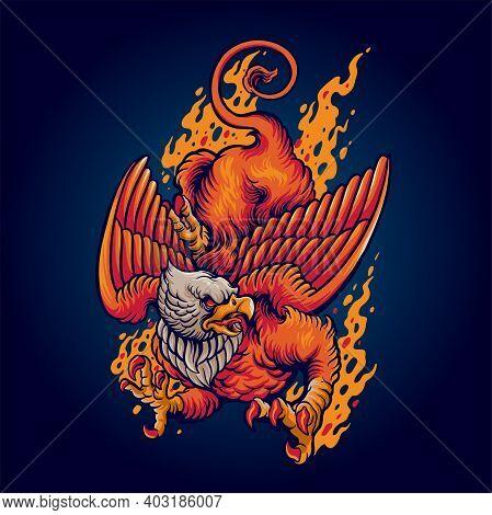 Flying Mythical Griffin Mascot  Griffin Logo, Animal Logo
