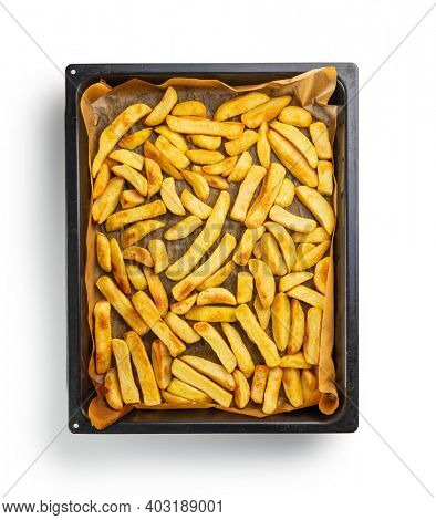 Big french fries. Fried potato chips isolated on white background.