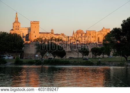 Avignon With Popes Palace During Sunset In Provence, France