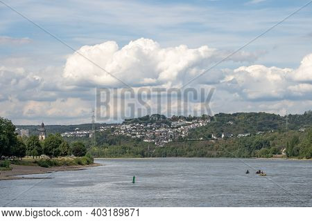 Koblenz, Germany - Aug 1, 2020: Clouds Over Rhine Mosel River In Summer
