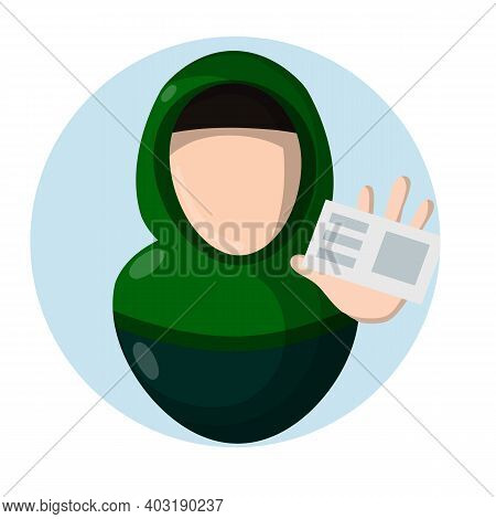 Getting Driver License. Arab Woman In Hijab. Certificate And Document. Hand Hold Plastic Card. Girl