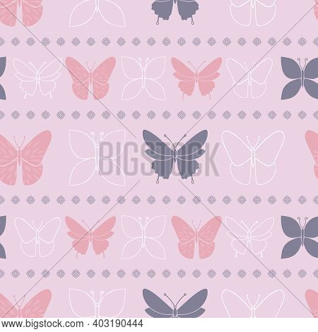 Lilac Butterfly Spring Seamless Pattern Vector Tea Party