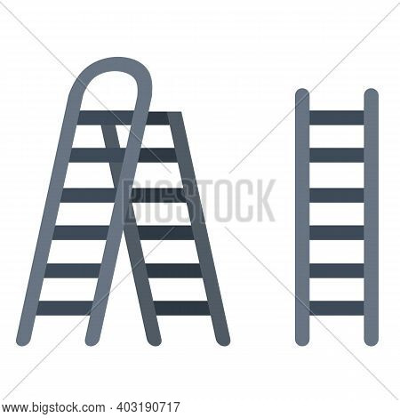 Stairs. Set Of Steel Ladder. Simple Stairway For Climbing Up. Rural Tool With Steps. Flat Illustrati