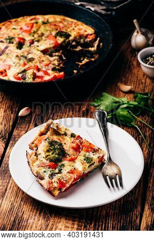 Vegetable Frittata With Broccoli And Red Bell Pepper