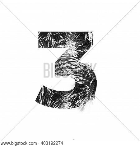 Black And White Fur Minimalistic Typeface, Number Three Of Tinsel And Paper Cut In Shape Of Third Nu