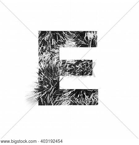 Black Letter E Of Monochrome Tinsel And Paper Cut Isolated On White. Festive English Alphabet For Mi
