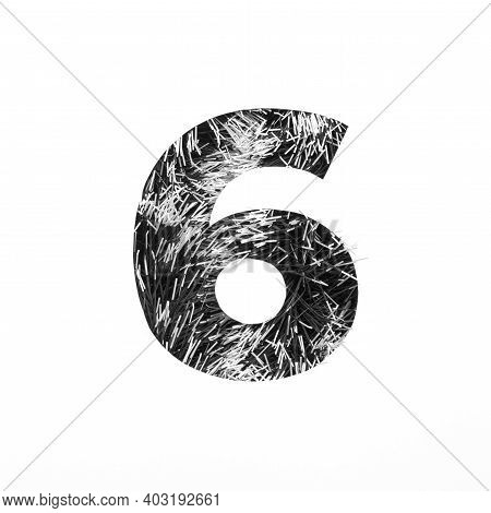 Black Number Six Made Of Tinsel And Paper Cut Shape Of Sixth Numeral Isolated On White. Monochrome S