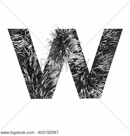 Black Letter W Of English Alphabet Of Monochrome Tinsel And Paper Cut Isolated On White