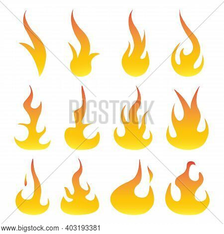 Set Of Red And Orange Fire Flames. Bonfire Creative Elements Collection. Hot Flame Energy And Power