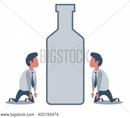 Unhappy Sad Alcoholic Man Character With A Drink Bottle. Alcoholism Addict Problem Dependence Bad Ha