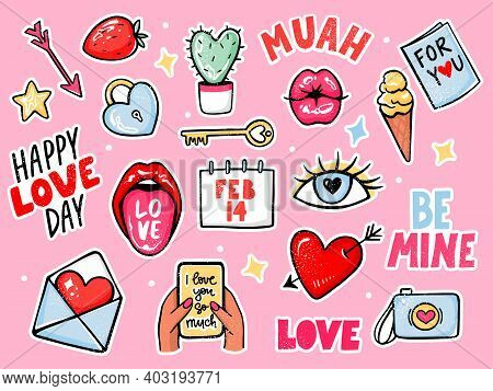 Love Stickers Vector Set For Valentines Day. Cartoon Romantic Elements, Lettering Quotes, Lips, Came