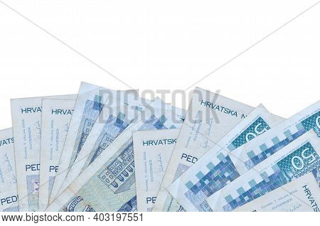 50 Croatian Kuna Bills Lies On Bottom Side Of Screen Isolated On White Background With Copy Space. B