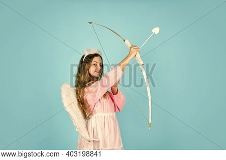 One And Only. February 14. Valentine Sale And Discount. Cupid Shoot With Bow. Arrow Of Love. Small A