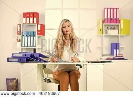 Business Woman Work In Office With Documents. Female Career. Organized Office Work. Routine Paperwor