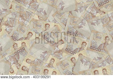 1000 Thai Baht Bills Lies In Big Pile. Rich Life Conceptual Background. Big Amount Of Money