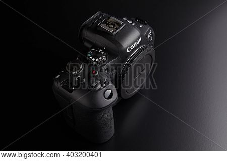 St. Petersburg, Russia - January 9, 2021: Full Frame Mirrorless Camera Eos R6 Brand Of Canon.
