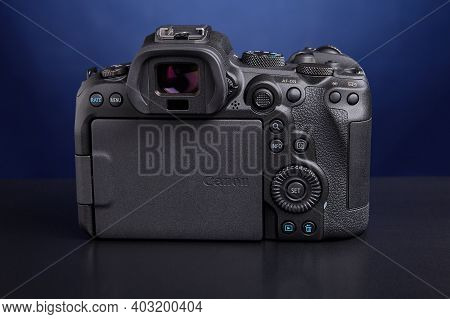 St. Petersburg, Russia - January 9, 2021: Design Of Mirrorless Camera Canon Eos R6 Is Cluster Of Con