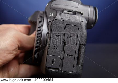St. Petersburg, Russia - January 9, 2021: Audio And Remote Connectors Of Camera Canon Eos R6 Are Car