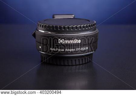 St. Petersburg, Russia - January 9, 2021: Canon Mount Lens Adapter Ef-eos R Manufactured By Third Pa