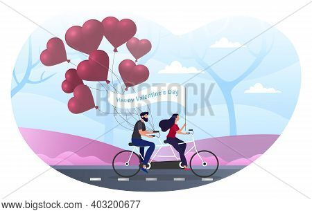 Male And Female Characters Are Riding Bicycle On Valentine S Day In Park. Happy Couple In Love On Bi