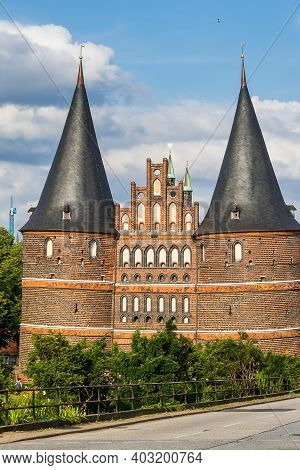 The Holsten Gate Holstentor In Luebeck, Germany. It Is The Most Significant Gate Of The Middle Ages