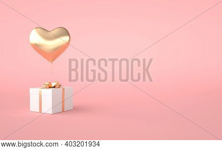 3d Render Illustration Of Gold Glossy Heart Balloon, Gift Box With Golden Bow On Pink Background. Va