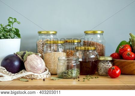 Zero Waste Healthy Food-cereals, Seeds, Vegetables Flat Lay On Grey Background. Groceries In Textile