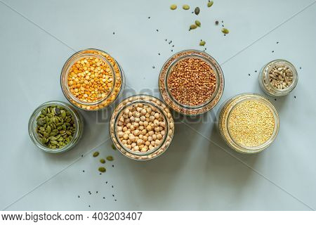 Organic Bio Bulk Products In Zero Waste Shop. Foods Storage In Kitchen At Low Waste Lifestyle. Cerea