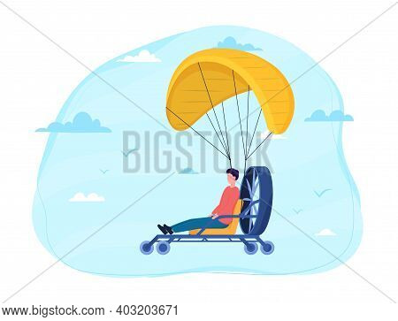 Male Character Is Skydiving With Paramotor. Concept Of Parachuting Sport And Leisure Activity. Extre