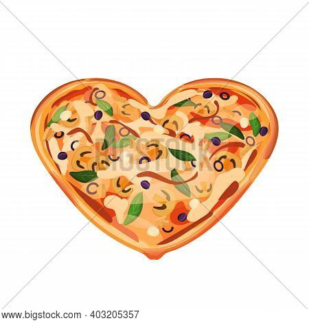 Heart Shaped Pizza From The Oven With Cheese, Mushrooms, Chicken, Chopped And Whole Purple Olives, M