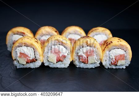 Spicy Salmon And Cheese Grilled Sushi Rolls