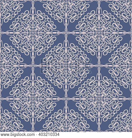 Dark Abstract Arabic Lace Floral Seamless Pattern In Blue And Pink Colors, East Style. Elegant Macra