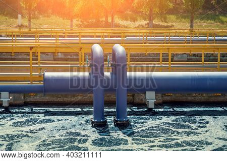 Aerated Activated Sludge Tank At Modern Wastewater Treatment Plant.