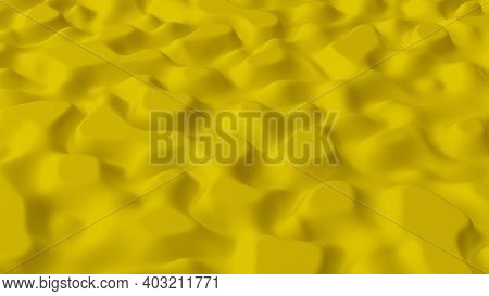 Abstract Minimalistic Background With Yellow Noise Wave Field. Detailed Displaced Surface. Modern Ba