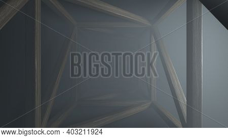 Abstract Futuristic Wooden Tunnel Background With Haze Corridor And Volumetric Light. Glowing Warm L