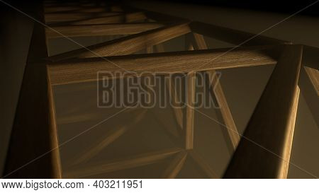 Abstract Futuristic Wooden Tunnel Background With Haze Corridor And Volumetric Light. Glowing Orange
