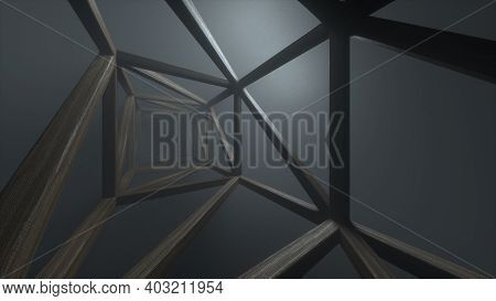 Abstract Futuristic Wooden Tunnel Background With Haze Corridor And Volumetric Light. Cold Light Wit