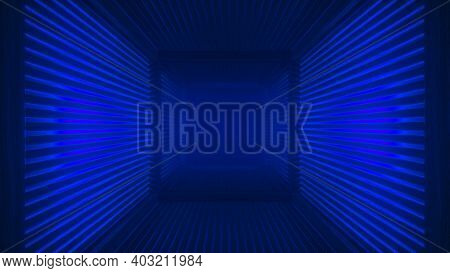 Abstract Blue Futuristic Wooden Tunnel Background With Haze Corridor And Volumetric Light. Glowing B
