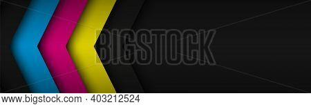 Black Modern Header With Overlapped Layers With Cmyk Colors. Banner For Your Business. Vector Abstra