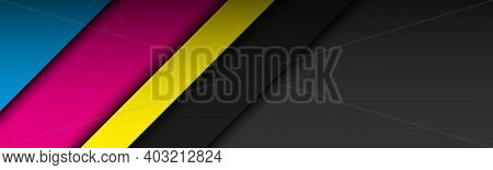 Black Modern Material Header With Overlapping Layers In Cmyk Colors. Banner For Your Business. Vecto