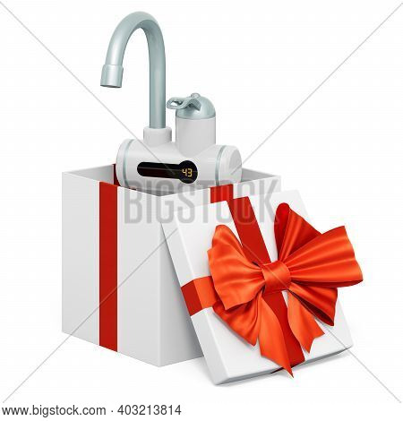 Instant Electric Hot Water Heater Inside Gift Box, Present Concept. 3d Rendering Isolated On White B