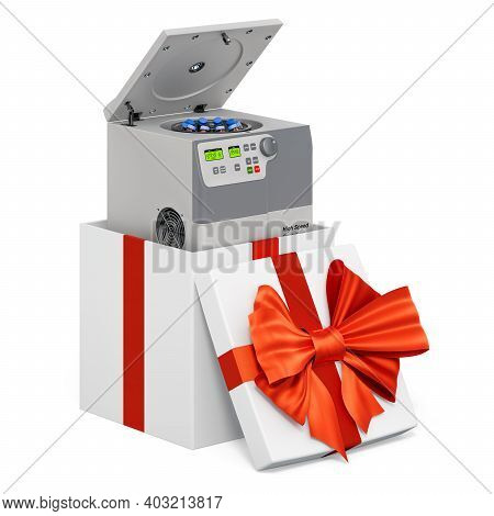 Laboratory Centrifuge Inside Gift Box, Present Concept. 3d Rendering Isolated On White Background